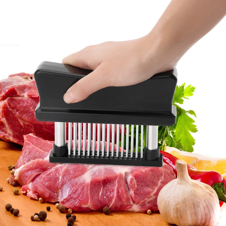 Professional 48-Blade Meat Tenderizer, Stainless Steel Needle Tenderizer Tool for Tenderizing & Marinating Steaks Chicken Fish