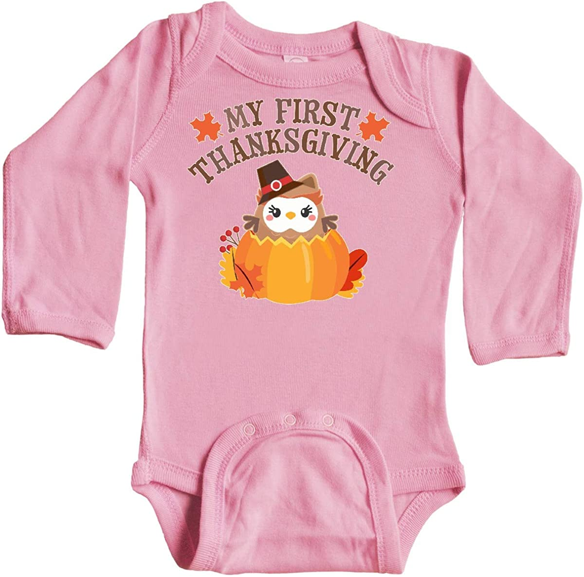 inktastic My 1st Thanksgiving Cute Owl in Pumpkin Long Sleeve Creeper