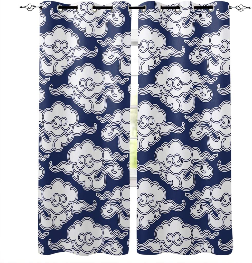"Light Blocking Window Curtains Thermal Insulated Grommet Curtain for Bedroom Accessory Set 52""x72"", Blue White Pattern Chinese Vintage Cloud Japanese China Oriental Design Window Treatment, 2 Panels"
