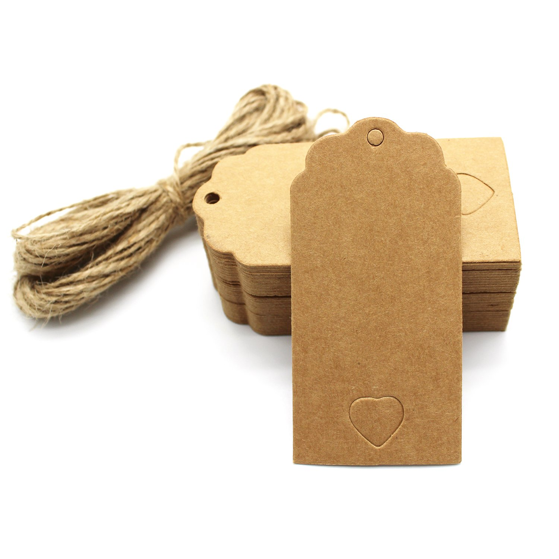 Vuoto tag, Alohha 100PZ etichette regalo nozze in carta kraft bianco da appendere vintage etichette di carta kraft con 100 piedi di juta naturale spago (a forma di cuore) Black 14424540
