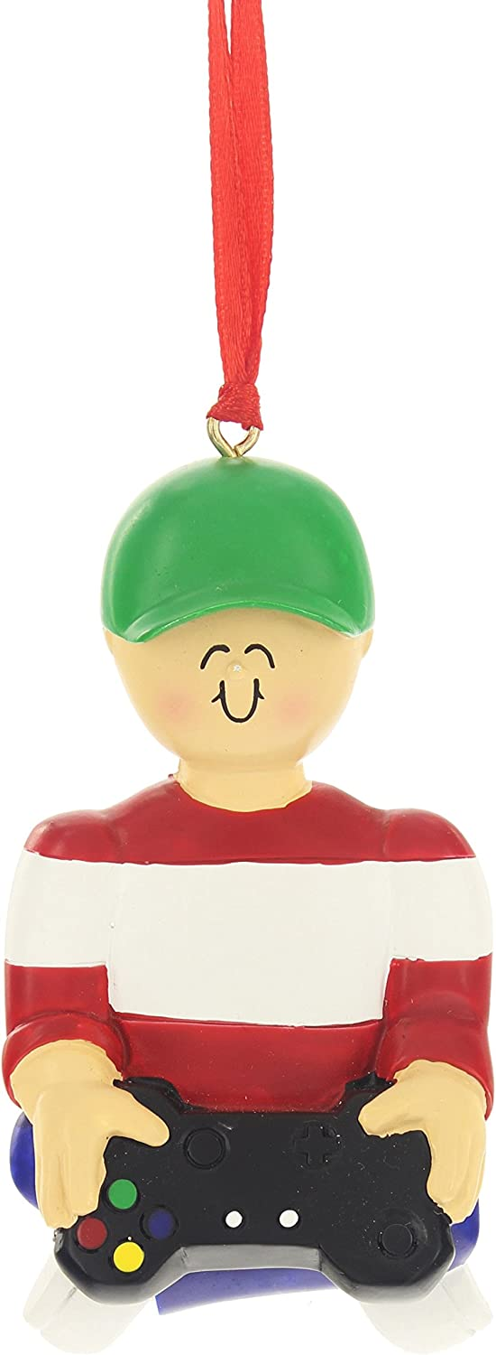 Ornament Central 3.5'' x 4'' Boy in Hat Holding Over Sized Video Game Controller
