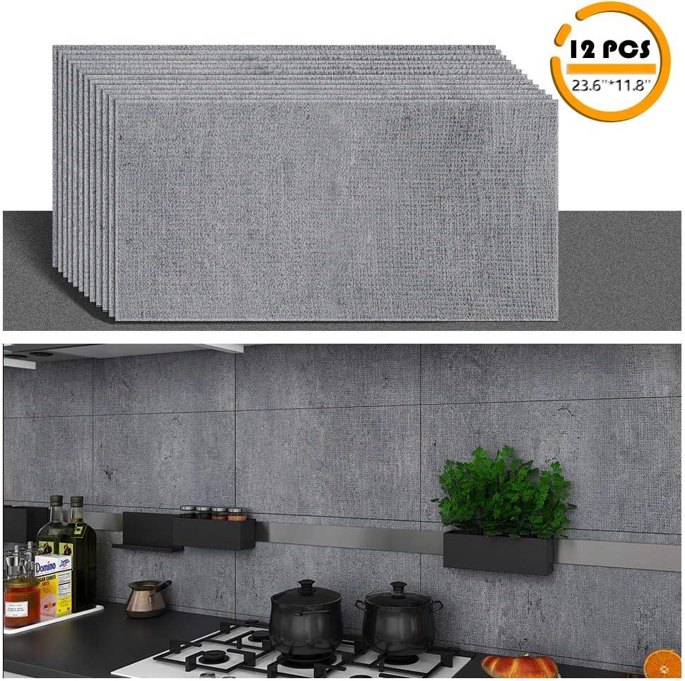 Amazon Com Veelike 23 6 X11 8 Peel And Stick Vinyl Floor Tile Vinyl Plank Flooring Backsplash Tile Wall Tile For Kitchen Waterproof Self Adhesive 12 Pcs Bathroom Tiles Wall Sticker Decals Arts Crafts Sewing