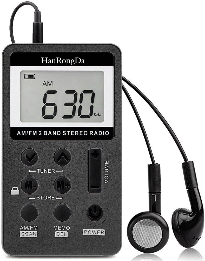 YZCX Radio Pequeña Portatil, Mini Radio de Bolsillo Pocket Am/FM 2 Bandas de Radio Estéreo DSP Digital Tuning Receptor con Pantalla LCD USB Recargable y Auricular para Caminar (Negro)