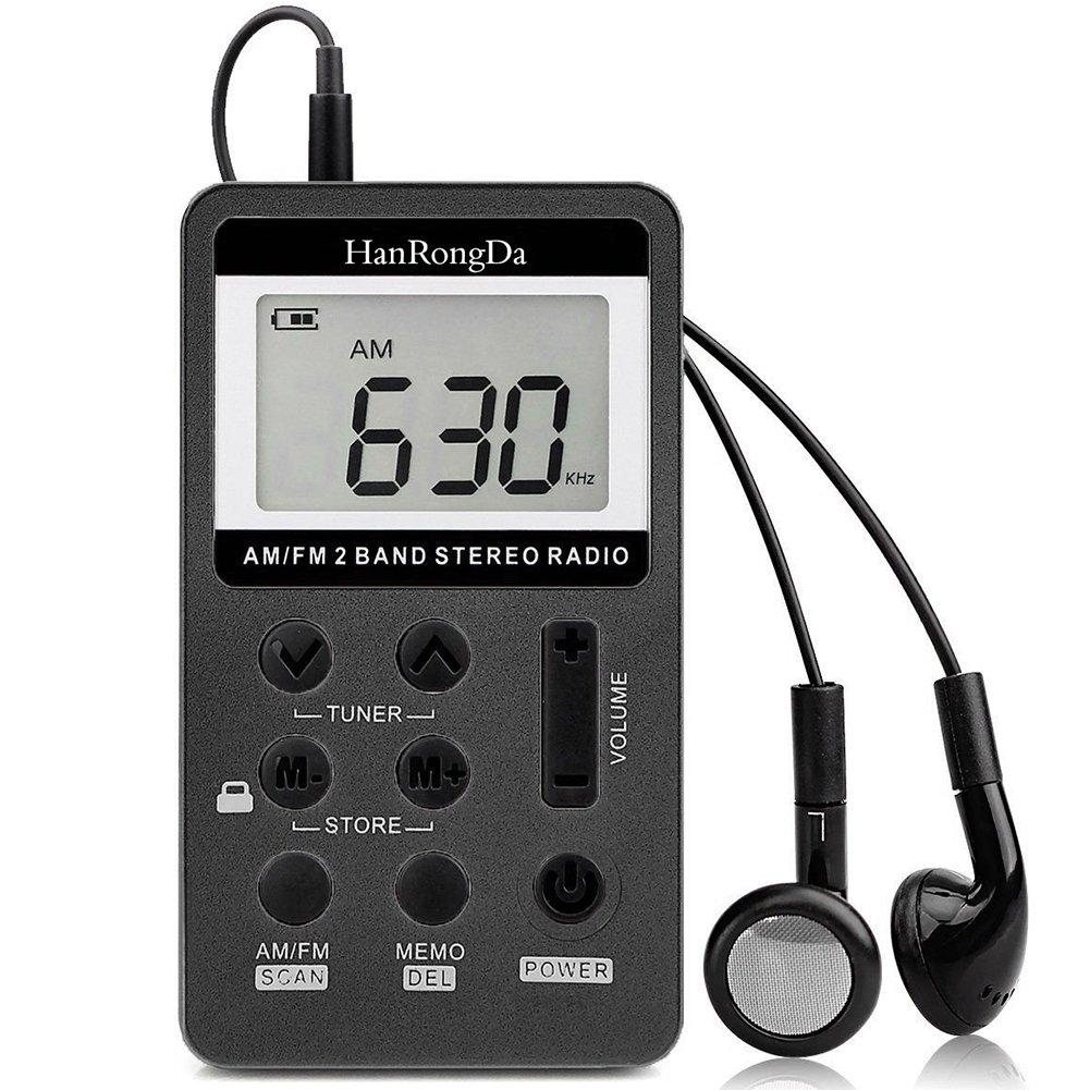 YZCX Radio Pequeña Portatil, Mini Radio de Bolsillo Pocket Am/FM 2 Bandas de Radio Estéreo DSP Digital Tuning Receptor con Pantalla LCD USB Recargable ...