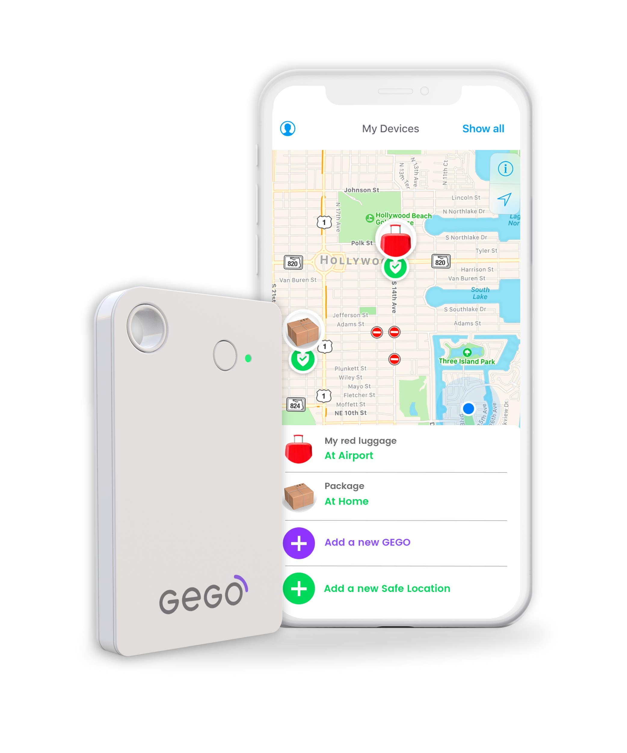 GEGO Worldwide Tracker - Personal Global Real Time Tracking Device Tracks Anything or Anyone Anywhere (3G/Bluetooth with Mobile App) White by GEGO