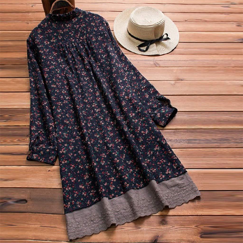 Damen Floral bedruckter Oansatz geschichtetes lang/ärmliges Hemd Vintage lange Oberteile