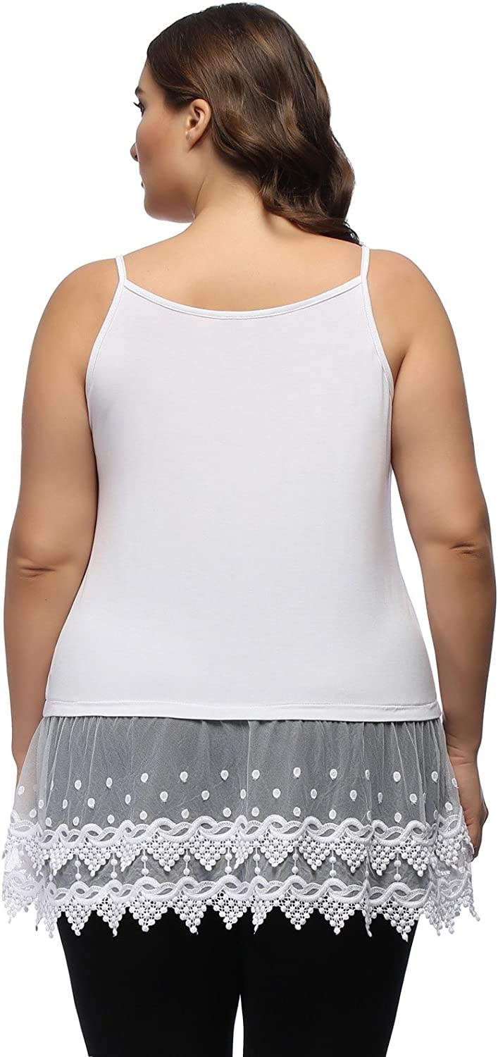 Women's Plus Size Lace Trimmed Camisole Layering Cami Tank Top Extender at  Women's Clothing store