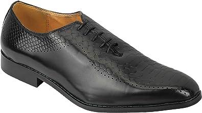 TALLA 41 EU. Piel De Serpiente De Imitación Cuero De La Impresión De Los Nuevos Hombres Cordón De La Vendimia para Arriba Los Zapatos Oxford Inteligentes Formal En Negro Azul Tan