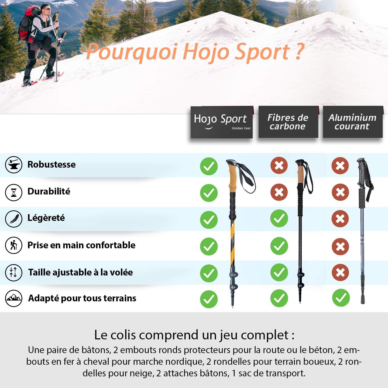 Paire de Aluminium Liège Trekking Poles Backpacking Randonnée Outdoor réglable Tips