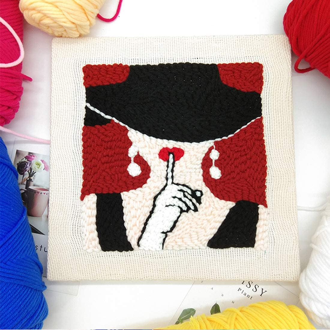 DIY Handcraft Rug Hooking Kit Knitting Wool Embroidery Kit with Tools,Embroidery Frame and Punch Needle XSHION Latch Hook Kit for Adults and Kids Needlework Craft Gift Home Decor Rabbit