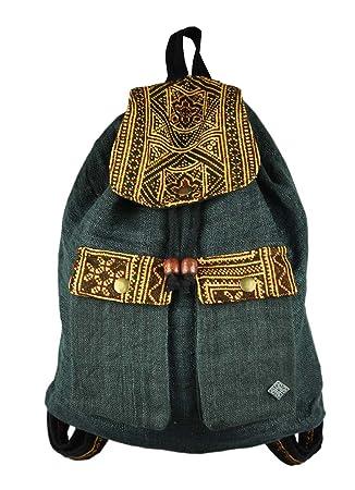 Mochila pequeña y linda de picnic hecha de 100 % cáñamo con hermosas decoraciones como ropa étnica - Magisch: Amazon.es: Equipaje