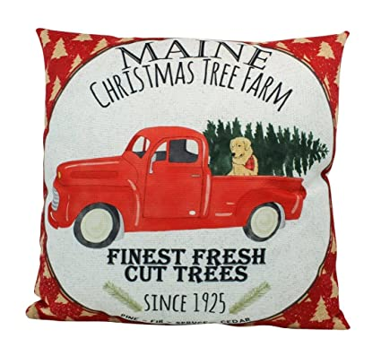 uniikstuff red christmas truck pillow cover red truck christmas decor throw pillow - Red Truck Christmas Decor