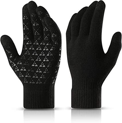 Knitted Wool Gloves Autumn Winter Men Outdoor Cycling Warm Touch Screen Glove