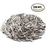 ManYee 120pcs 35 mm Silver Tone Alligator Clips Crocodile Clamps for Battery Test Clip Cable Lead Place Card Holder