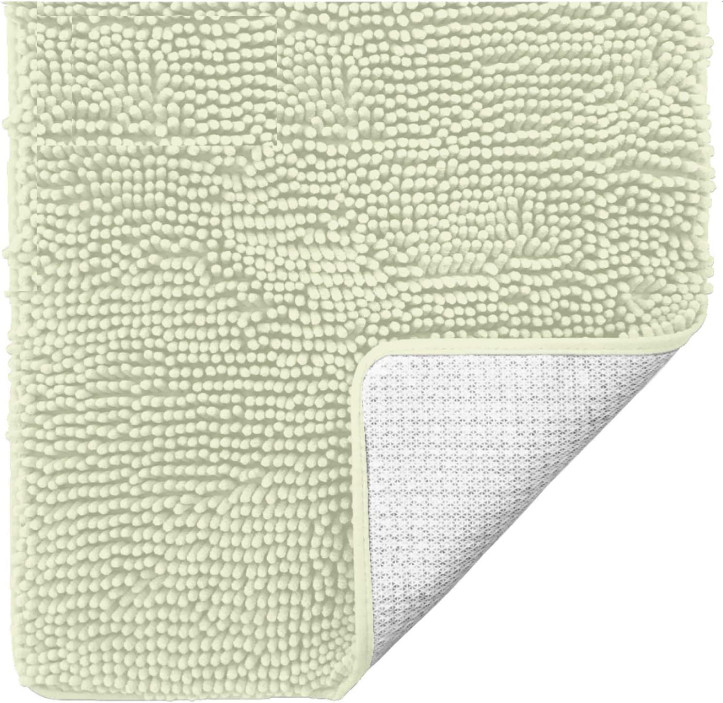 Gorilla Grip Original Luxury Chenille Bathroom Rug Mat, 30x20, Extra Soft and Absorbent Shaggy Rugs, Machine Wash Dry, Perfect Plush Carpet Mats for Tub, Shower, and Bath Room, Pale Green