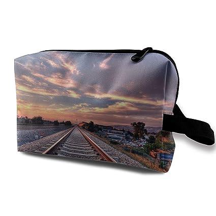 5d20af60d906 Amazon.com: Portable Travel Cosmetic Bag Train Railway Track Pattern ...