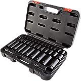 Arcan 3/8 & 1/2 Inch Drive Impact Socket Set, 5/16 Inch - 3/4 Inch, 8mm - 19mm, Cr-V, 38-Piece (AS2C38)