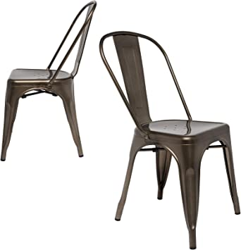 Amazon Com Steampunk Tolix Replica Chairs Set Of 2 Side Chair Bronze Chairs