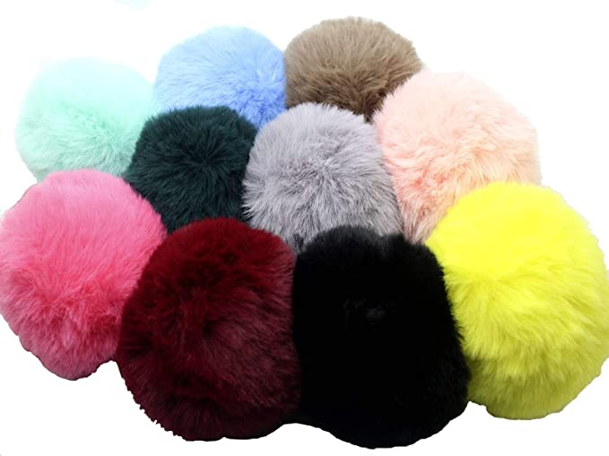 caa201dea 10pcs 8CM Soft Faux Rabbit Fur Pom Pom Bag Artificial Fur Ball Car Key Ring  Handbag Pendant (Pompom)