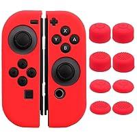 Pandaren Silicone rubber cover skin case anti-slip Hand Grip Customize for Nintendo Switch Joy-Con Controller x 2(Red) + Joycon thumb grips x 8