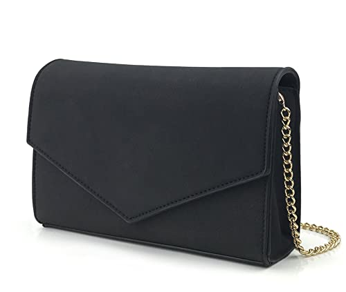 2f308497fd29 Minimalist Evening Envelope Clutch Chain Shoulder Bag Women Faux Leather  Suede Purse (Black)