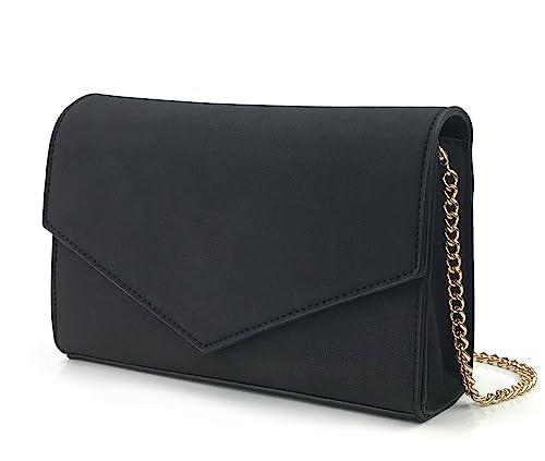 30a5999cb75d Minimalist Evening Envelope Clutch Chain Shoulder Bag Women Faux Leather  Suede Purse (Black)