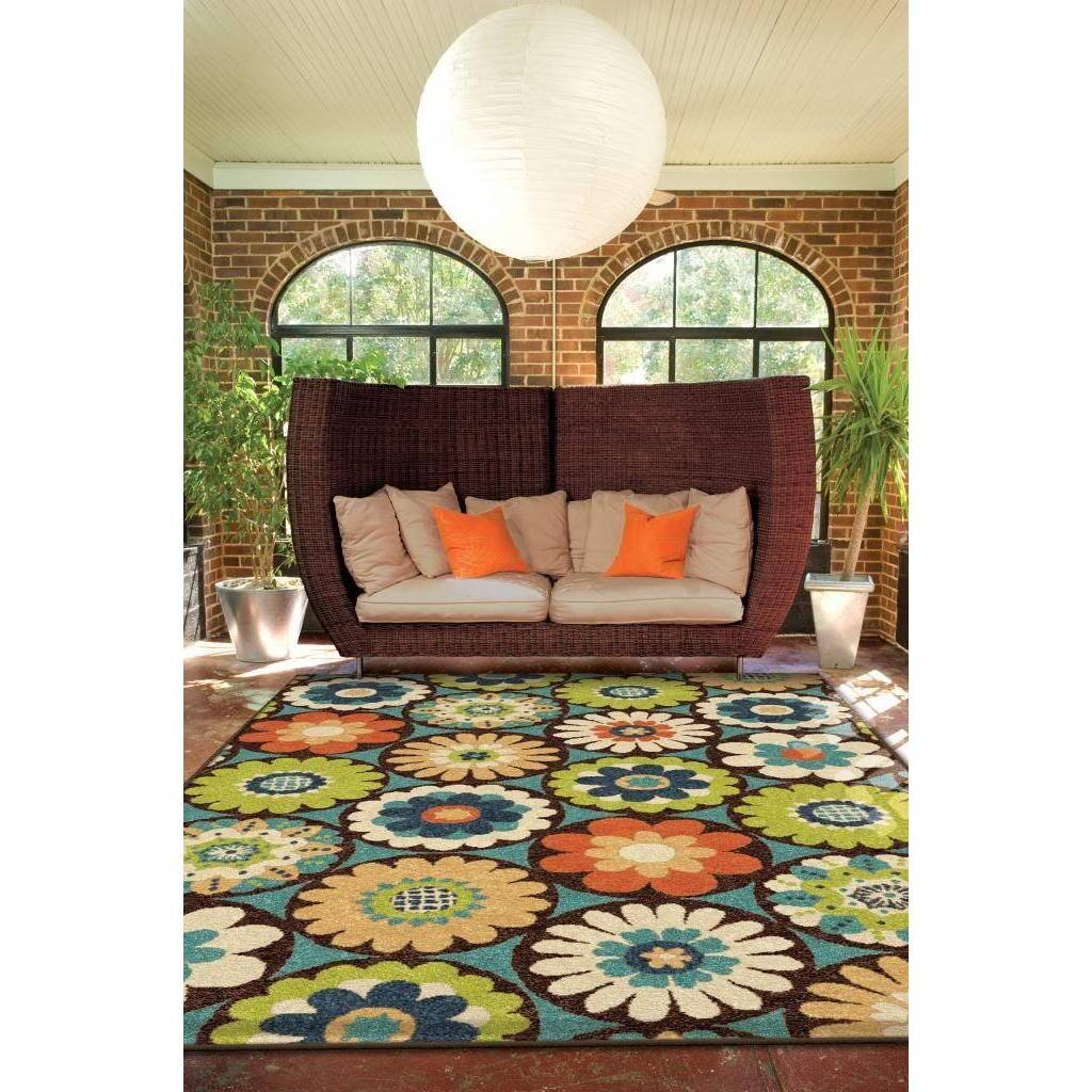 Rugs, Area Rugs, Outdoor Rug, Indoor and Outdoor Rugs, Outdoor Area Rugs, Contemporary Area Rugs, Multi-colored Floral Area Rug (7'8 x 10'10)