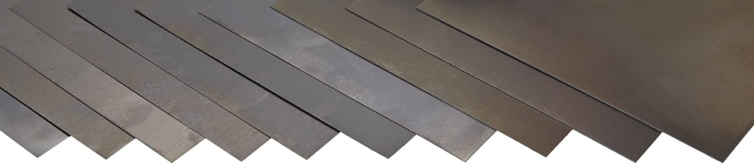Precision Brand Carbon Steel 1008 Shim Stock Assortment, Full Hard Temper, AISI 1008/AISI 1010, ASTM A109 for Chemistry, 0.05 mm, 0.10 mm, 0.15 mm, 0.20 mm, 0.25 mm, 0.30 mm, 0.40 mm, 0.50 mm, 0.65 mm, 0.080 mm Thick, 30 mm Width, 150 mm Length (Pack of 10