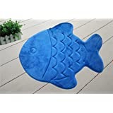 Incredibly Soft and Absorbent Kid's Memory Foam Bath Mat, 22 By 27-inch, Blue Fish
