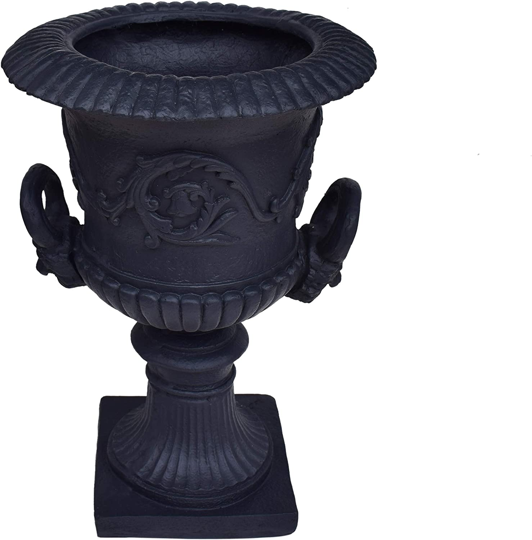 JOA Chalice Garden Urn Planter, Roman, Botanical, Black Lightweight Concrete