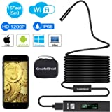 Wireless Endoscope,CreateGreat WiFi Borescope Inspection Camera 2.0 Megapixels 1200P HD Snake Camera with 8pcs Adjustable LED Inspection for Android and IOS Smartphone,Iphone,Samsung,Macbook(15FT)