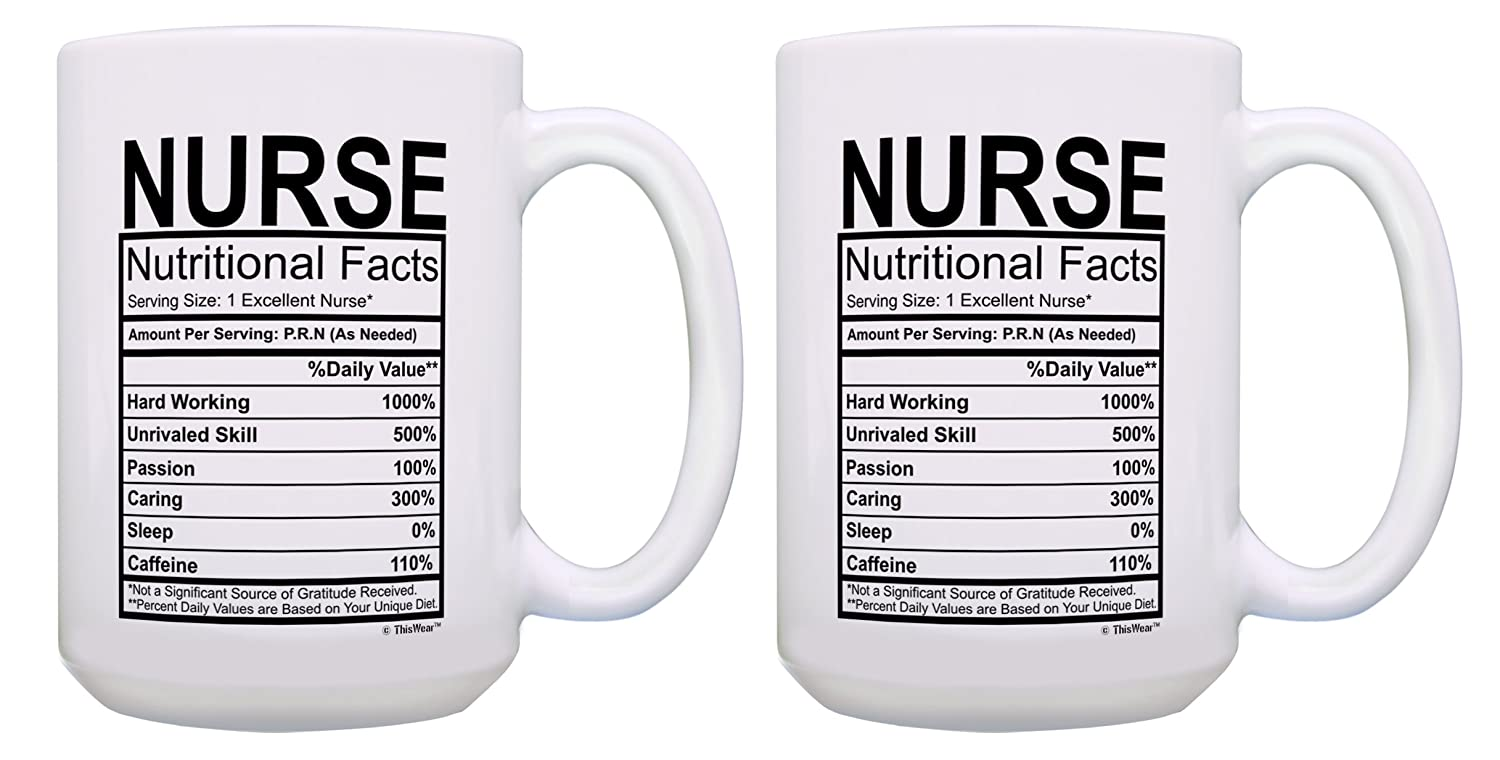 Amazon.com Funny Gifts for Nurses Nurse Nutritional Facts Nurse Gifts Funny Nurse Practitioner 2 Pack Gift 15-oz Coffee Mugs Tea Cups 15oz White Kitchen u0026 ...  sc 1 st  Amazon.com & Amazon.com: Funny Gifts for Nurses Nurse Nutritional Facts Nurse ...