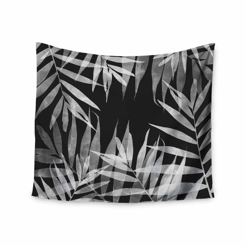 68 x 80 Wall Tapestry Kess InHouse Cafelab BW Tropicana Theme Black White Illustration