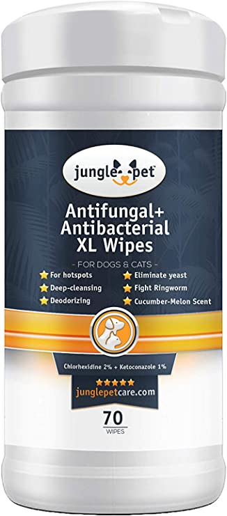 Medicated Antifungal Antibacterial Pads Dermatological Treatment Hot Spots Itchy Paws Skin Rashes Dermatitis Ringworm ZPAW Antiseptic Wipes for Dogs Cats and Horses with Chlorhexidine Ketoconazle