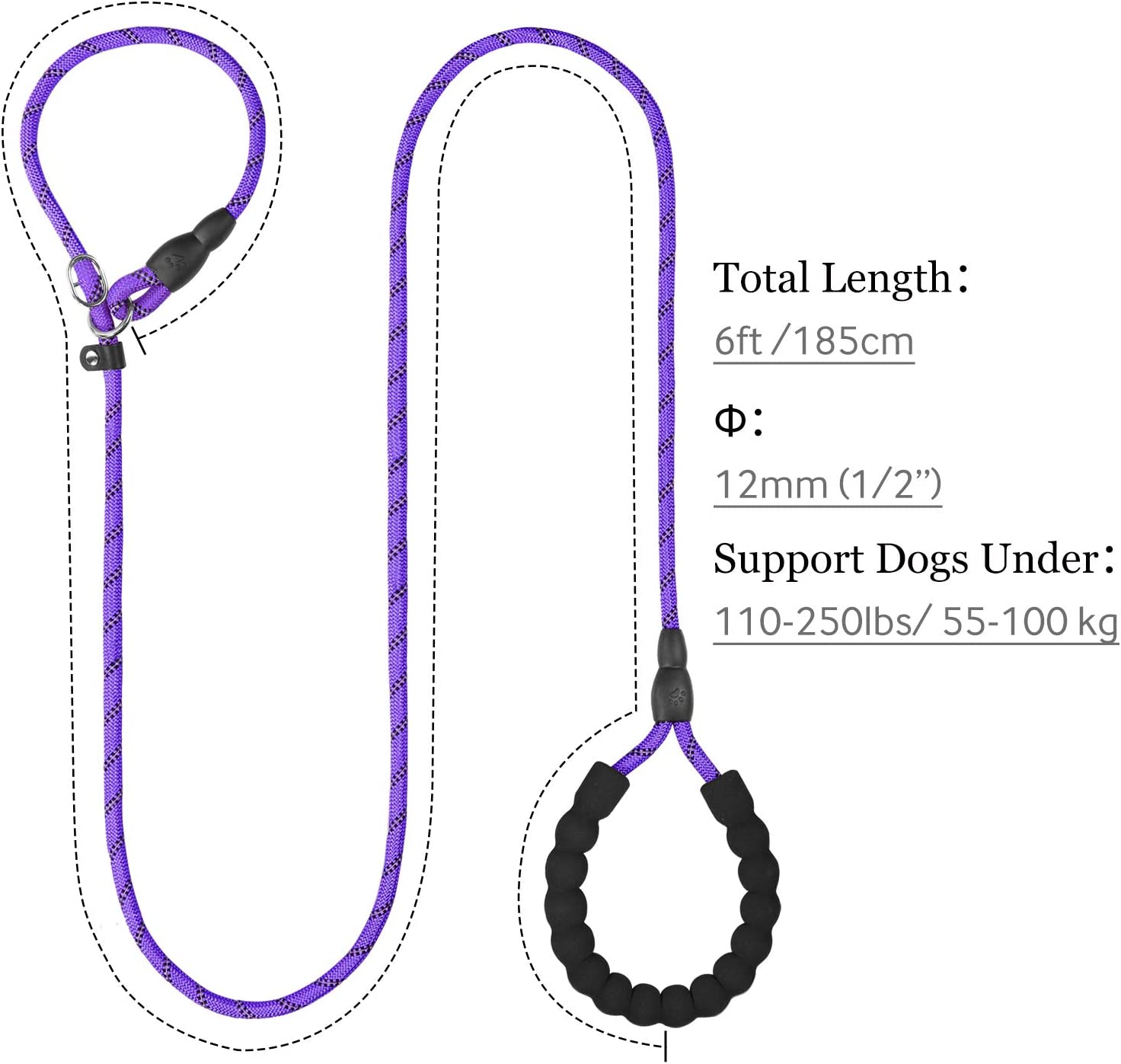 TagME Reflective Slip Lead Dog Leash for Small Pupply Medium and Large Dogs Training and Walking,6ft Climbing Rope Leash