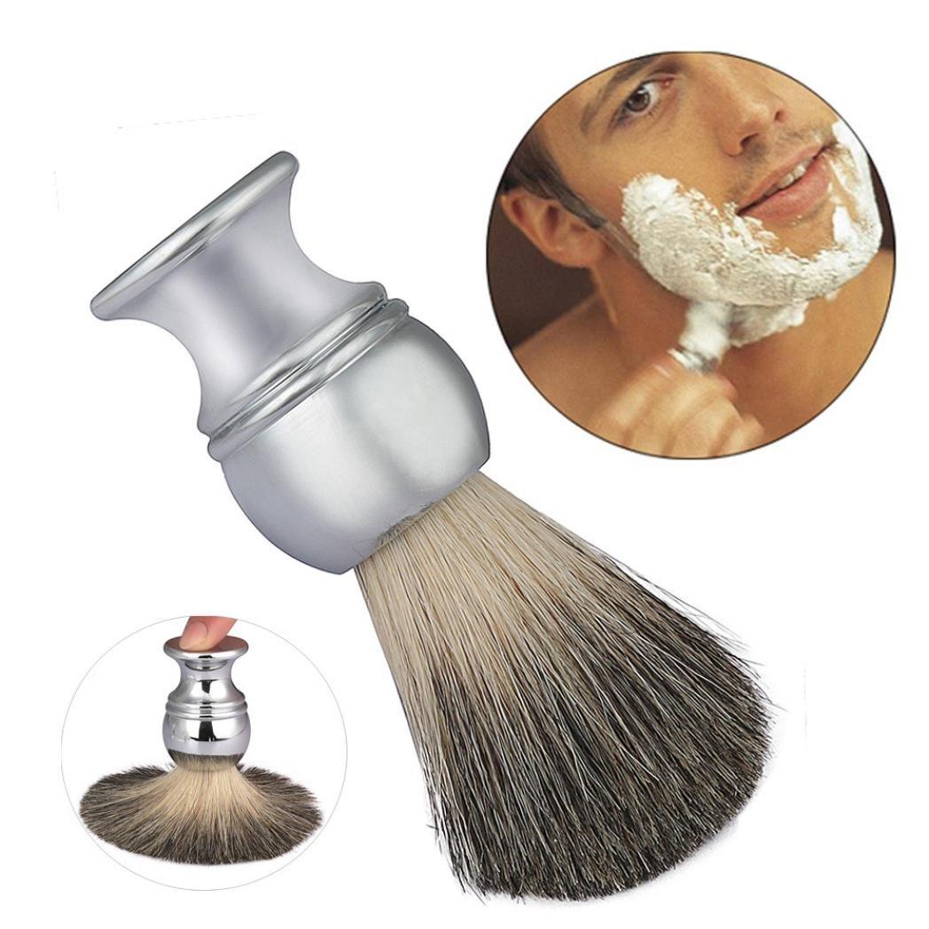 Brosse barbe Kolylong Silvertip badger Poignée en alliage rasage brosse homme nettoyage Facial brosse outil Argent B