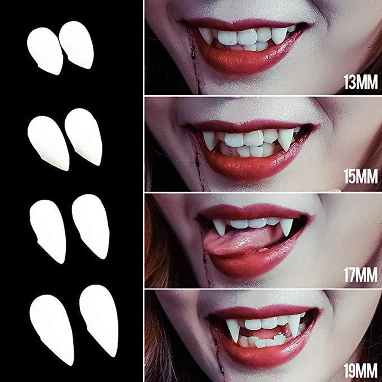 Cosplay Halloween Dentiere Zombie Denti da Vampiro Fantasma Diavolo Zanne Lupo Mannaro Denti Confezione Regalo Prop Costume Party Bianco Jasnyfall