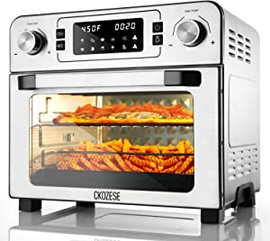 CKOZESE 1700W 10-in-1 Toaster Oven Air Fryer Combo Stainless Steel Dehydrator/Toast/Bake/Broil/Roast, 2 Level Fans Speed&60 Min Timer, 23Qt XL Digital Convection Oven, 7 Accessories& Recipe Included