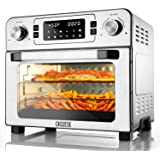 CKOZESE 1700W 10-in-1 Toaster Oven Air Fryer Combo Stainless Steel Dehydrator/Toast/Bake/Broil/Roast, 2 Level Fans Speed…