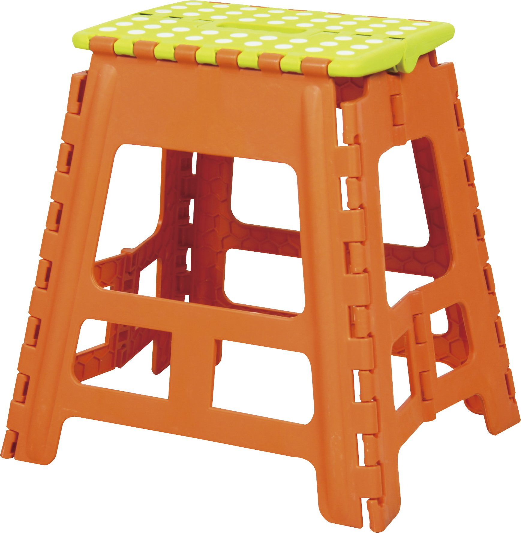 AZUMAYA Folding Step Stool Green 15'' High BLC-312OR