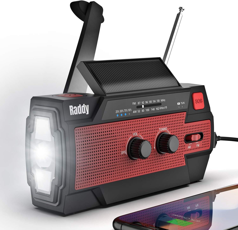 SW3 Wind up Radio 4000mAh Power Bank Dynamo Crank Solar Power FM//AM Emergency Radio with Flashlight SOS Alarm Reflective Strip for Camping Hiking zhangxu