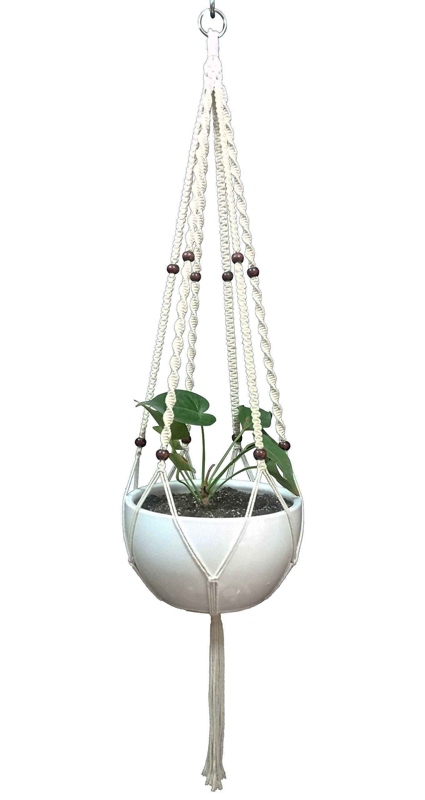 Plant Hanger Macrame Cotton 6 Legs 51 inches in Tan and Green Color for Indoor Outdoor, Living Room, Kitchen, Deck, Patio, High and Low Ceiling with Size of 10-12 inches Without The Pot (Cream)