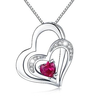 3af32271ff84 Kette Herz Damen Halskette 925 Sterling Silber Doppel Herz Anhänger mit  Zirkonia Valentinstag Geschenke für Frauen