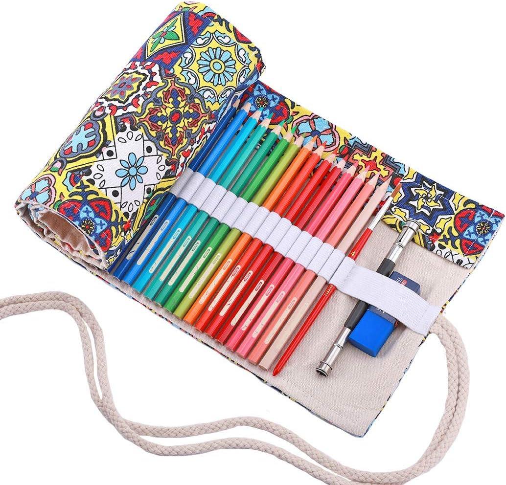 amoyie Sacchetto della matita tela rotolo astuccio per 36 matite colorate Foglia nero no inclusa matite