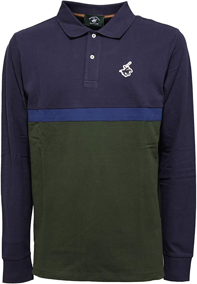 Beverly Hills Polo Club 4304K Polo uomo Blue/Green t-Shirt Man [L ...