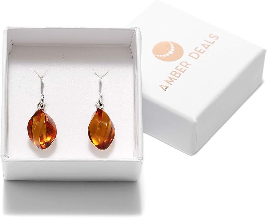 925 Sterling Silver Real Baltic Amber Trefoil Knot Dropper Stud Earrings