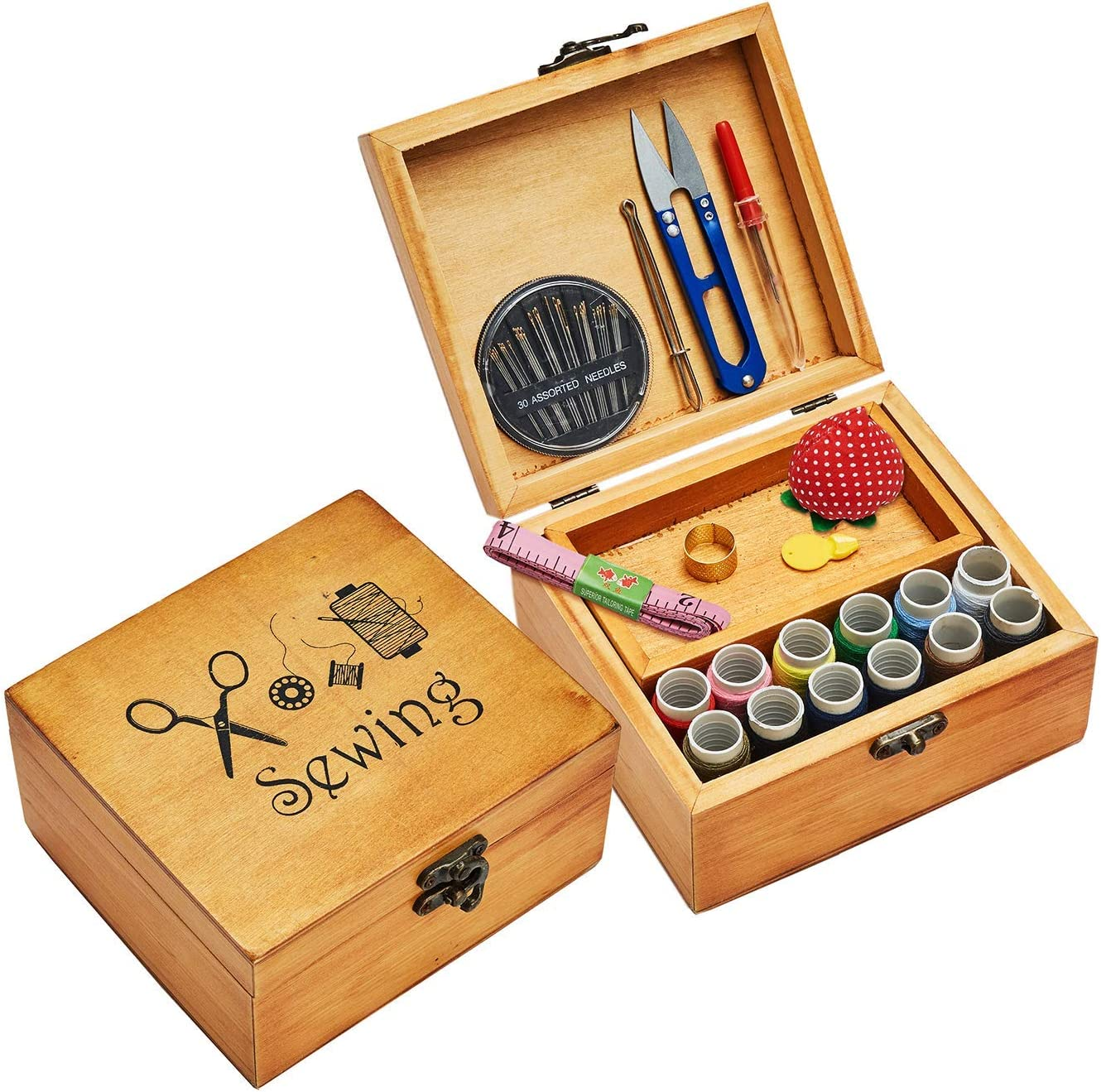 Sewing Kit, Wooden Sewing Basket with Accessories, Sewing Box with Sewing Kit Accessories for Home Repair Tool Set for Beginners/Women/Men/Girls/Kids