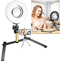Neewer Tabletop Makeup Ring Light Kit: 8-inch Dimmable Mini LED Ring Light with 3.5-inch Mirror, Desktop Support Stand, Phone Clip for Beauty Blog Make up Selfie Video Photography (No Carrying Bag)