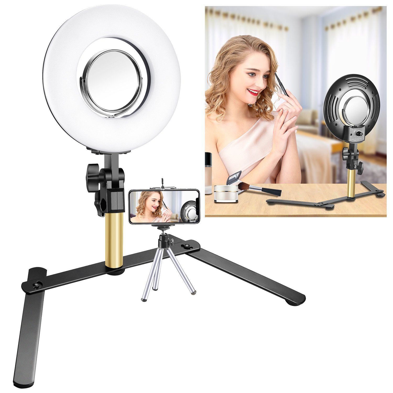 Neewer Tabletop Makeup Ring Light Kit: 8-inch Dimmable Mini