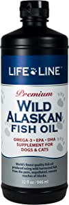 Life Line Pet Nutrition Wild Alaskan Fish Oil Omega-3 Supplement for Skin & Coat – Supports Brain, Eye & Heart Health in Dogs & Cats